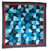 Blue Step Pyramid Wall Art Quilt